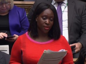 Abena speaking in Parliament