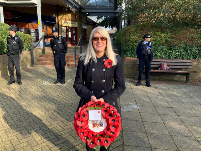 Thamesmead Moorings resident Debbie who laid a wreath on my behalf on Remembrance Sunday
