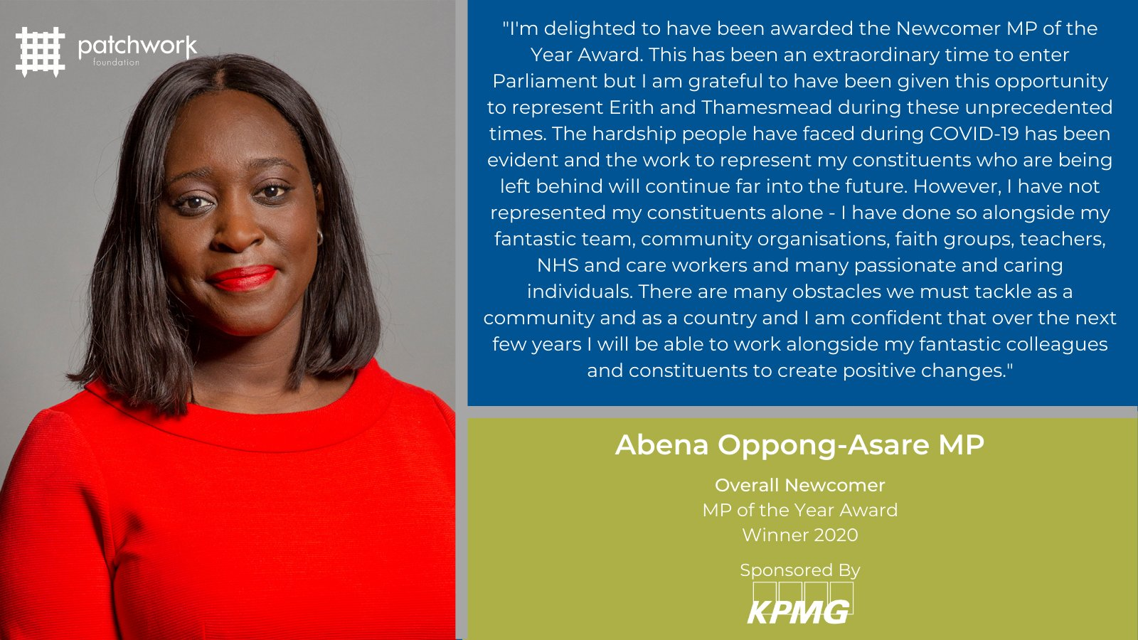 Image announcing Abena as Newcomer MP of the Year