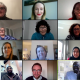 Screenshot of the video call Abena had with Target Ovarian Cancer, showing 12 video boxes including Abena's in the top right-hand corner.